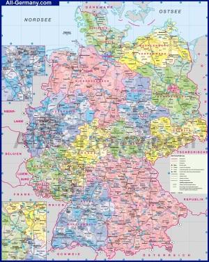 Подробная административная карта Германии с индексами