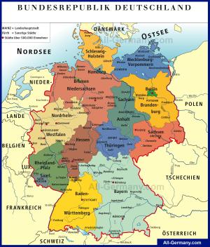 Политическая карта Германии