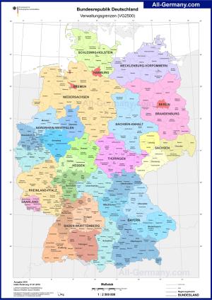 Земли Германии - Административная карта