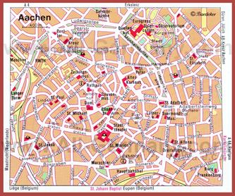 Карта Ахена с достопримечательностями