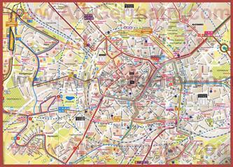 Туристическая карта Ахена с маршрутами транспорта
