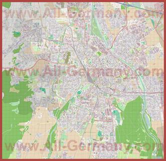 Подробная карта города Аугсбург