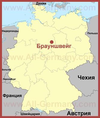 Брауншвейг на карте Германии