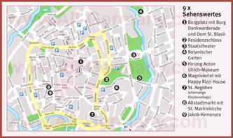 Туристическая карта Брауншвейга с достопримечательностями
