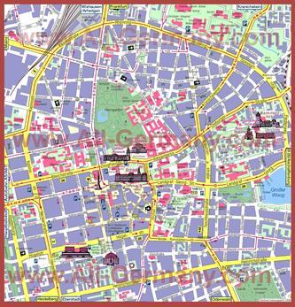 Туристическая карта Дармштадта с достопримечательностями