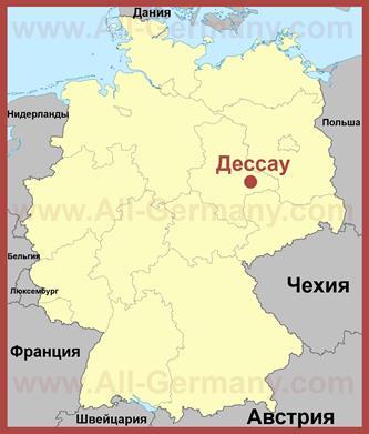 Дессау на карте Германии