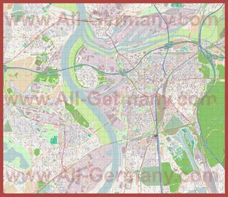 Подробная карта города Дуйсбург