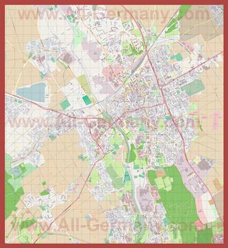 Подробная карта города Дюрен