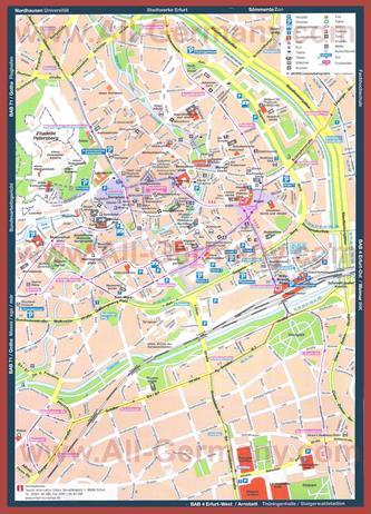 Туристическая карта Эрфурта с достопримечательностями и отелями