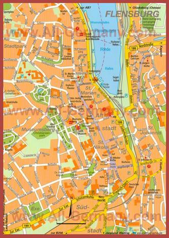 Туристическая карта Фленсбурга с достопримечательностями