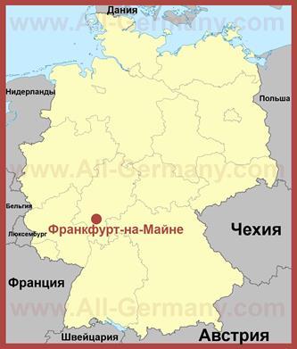 Франкфурта-на-Майне на карте Германии