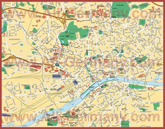 Карта центра Франкфурта-на-Майне с достопримечательностями