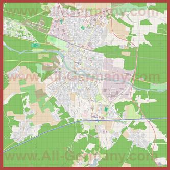Подробная карта города Фюрстенвальде (Шпрее)