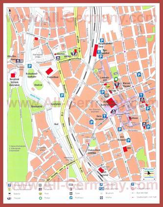 Туристическая карта Геры с достопримечательностями