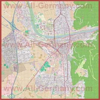Подробная карта города Гейдельберг (Хайдельберг)