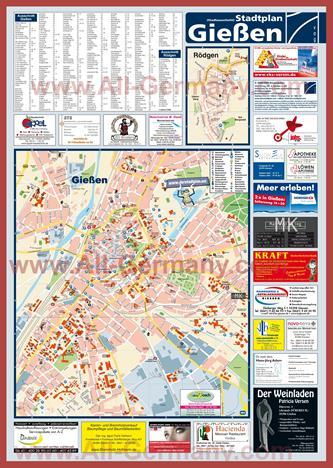 Туристическая карта Гиссена с достопримечательностями