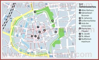 Туристическая карта Гёттингена с достопримечательностями