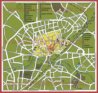 Туристическая карта Гютерсло с достопримечательностями