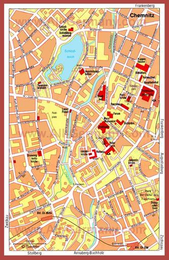 Туристическая карта Хемница с достопримечательностями