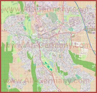 Подробная карта города Хильдесхайм