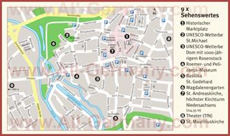 Туристическая карта Хильдесхайма с достопримечательностями