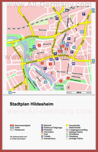 Туристическая карта Хильдесхайма с отелями