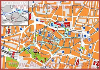 Туристическая карта Изерлона с достопримечательностями