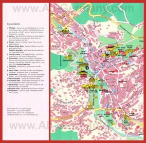 Карта города Баден-Баден с достопримечательностями
