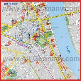 Подробная карта Бонна с достопримечательностями