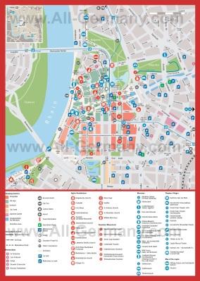 Карта Дюссельдорфа с достопримечательностями