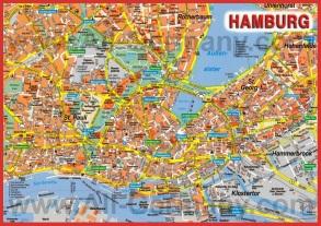 Карта Гамбурга с достопримечательностями