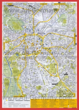 Подробная карта Лейпцига с достопримечательностями