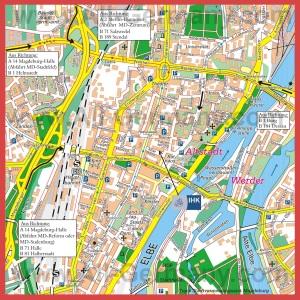 Туристическая карта Магдебурга с достопримечательностями