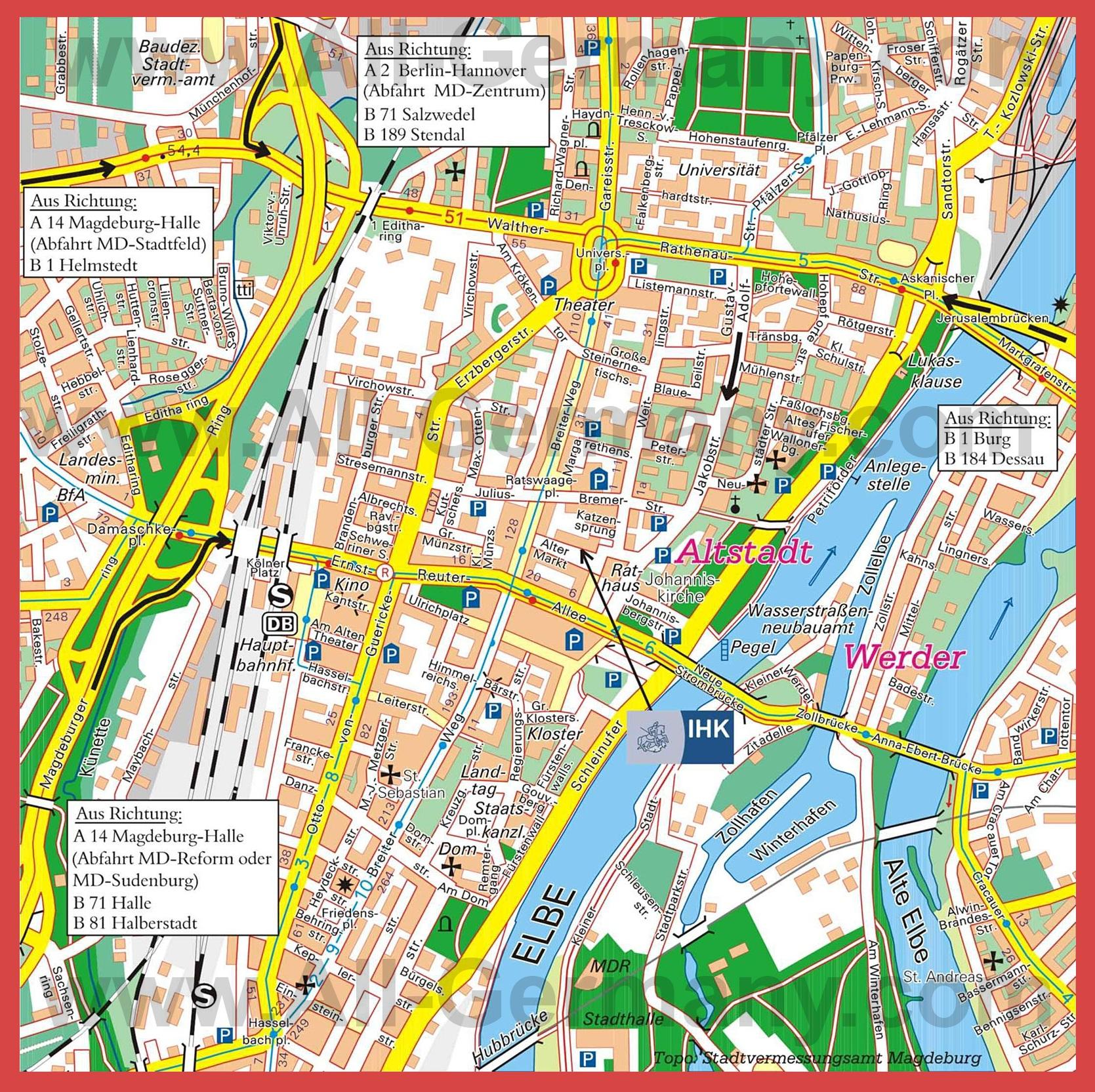Туристическая карта магдебурга с
