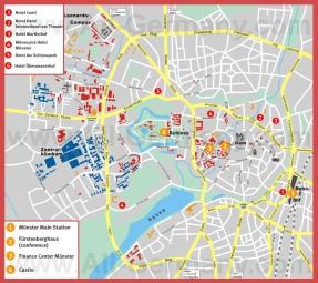 Подробная карта Мюнстера с достопримечательностями и отелями