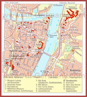 Туристическая карта Кобленца с достопримечательностями