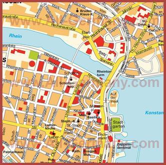 Туристическая карта Констанца с достопримечательностями