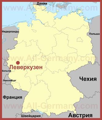 Леверкузен на карте Германии