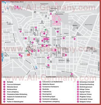 Туристическая карта Людвигсбурга с достопримечательностями