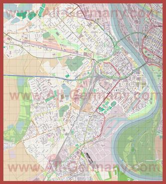 Подробная карта города Людвигсхафен-на-Рейне