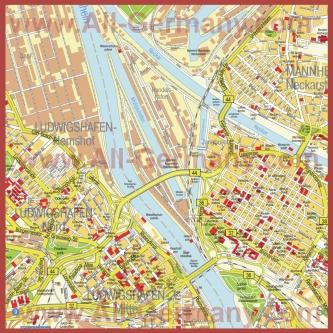 Туристическая карта Людвигсхафена-на-Рейне с достопримечательностями