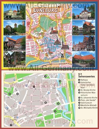 Туристическая карта Люнебурга с достопримечательностями