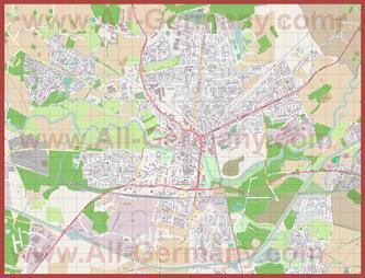 Подробная карта города Люнен
