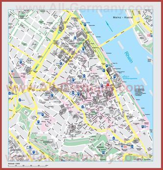 Туристическая карта Майнца с достопримечательностями