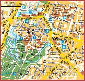 Туристическая карта Мёрса с достопримечательностями