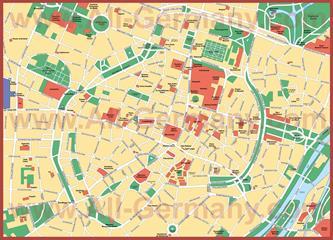Карта центра города Мюнхен с достопримечательностями