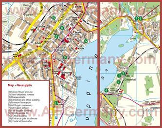 Подробная туристическая карта города Нойруппин с достопримечательностями