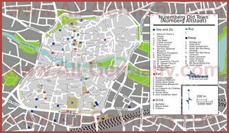 Туристическая карта Нюрнберга с отелями достопримечательностями и ресторанами