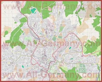 Подробная карта города Плауэн