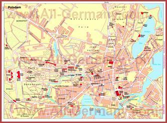 Туристическая карта Потсдама с достопримечательностями